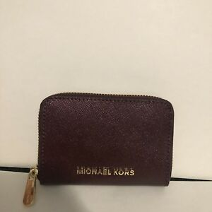 64930ff9502ed1 MICHAEL Kors Zip Around Small Card Case Wallet Purse Merlot Red ...