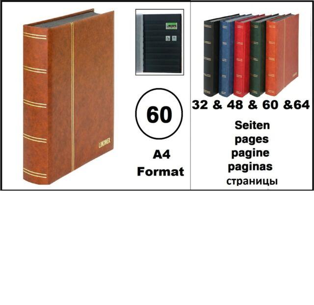 Classeur pour Timbres Album Photo Matelassé Braun 60 Noir Pages Lindner 1169S-H