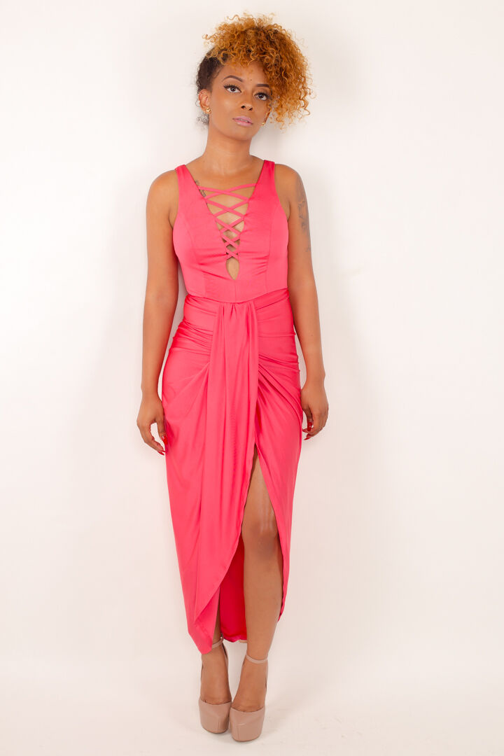 Womens Coral Lace-up High Low Drape Front Sleeveless Dress