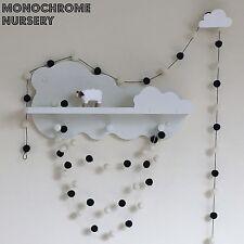 Monochrome Nursery,Black and White Pom Pom Garland,White Felt Bunting,Eco Baby