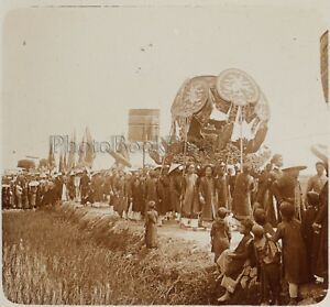 Indochine-Procession-Vietnam-Photo-F12-Plaque-de-verre-Stereo-Vintage-RE