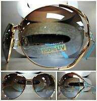 Oversize Vintage Retro Style Sun Glasses Gold Metal Frame Blue & White Accents