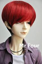 "1/3 BJD SD Doll 8-9"" 21.5-23cm Doll Head Black Mix Red Handsome Fur Wig Dollfie"