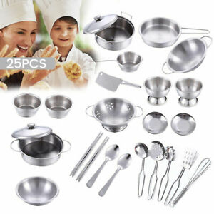 Childrens-Kitchen-Toy-Set-Kids-Pretend-Roleplay-Stainless-Steel-Food-Accessories