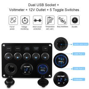 Details about 12V/24V Inline Fuse Box LED Rocker Switch Panel 2 USB on