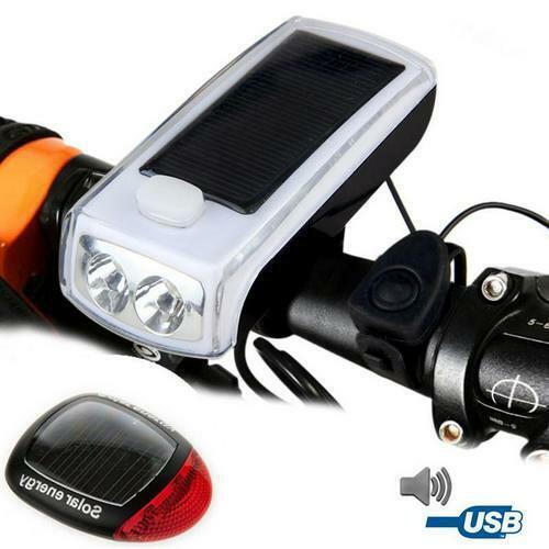 USB Rechargeable 4LED Solar Bike Lights Front Lights Mountain Bike Horn Lights