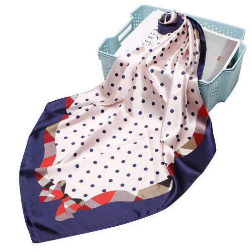 "35/"" Vintage Polka Dot Print Square Scarf Femmes Bleu Satin Châle hijab enveloppe 35/"""