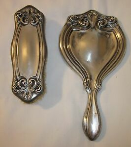 Art Nouveau Style Hand Mirror and Clothes Brush (Silver Plated)