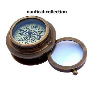 Maritime Antique Style Marine Nautical Brass Working Compass Magnifying Glass Quell Summer Thirst Antiques