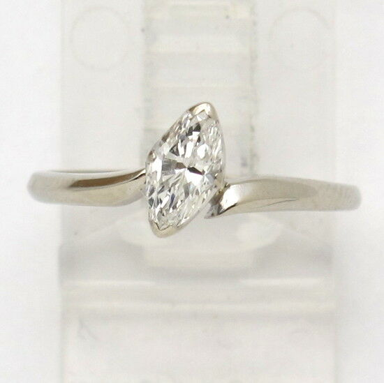 14k White gold Marquise Diamond Solitaire Engagement Ring .45ct