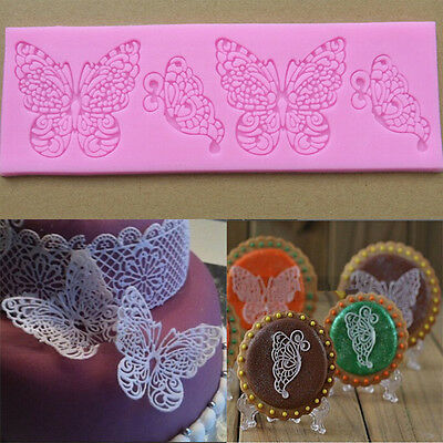 1x DIY Silicone Mold Butterfly Shape Lace Fondant Cake Decoration Bakeware Tool