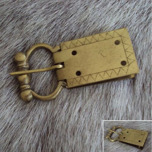 Viking Engraved Brass Belt Buckle Perfect for Costume Medieval LARP