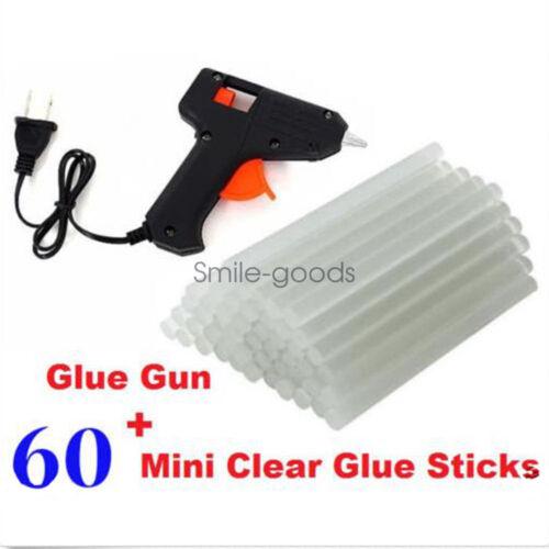 GLUE GUN WITH 60 FREE MINI CLEAR GLUE STICKS HOT MELT ARTS CRAFT 20W 110V NEW