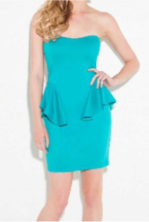 NWT   G by GUESS  Penelope Peplum Strapless Mini Dress in bluee Lagoon  Sz   L