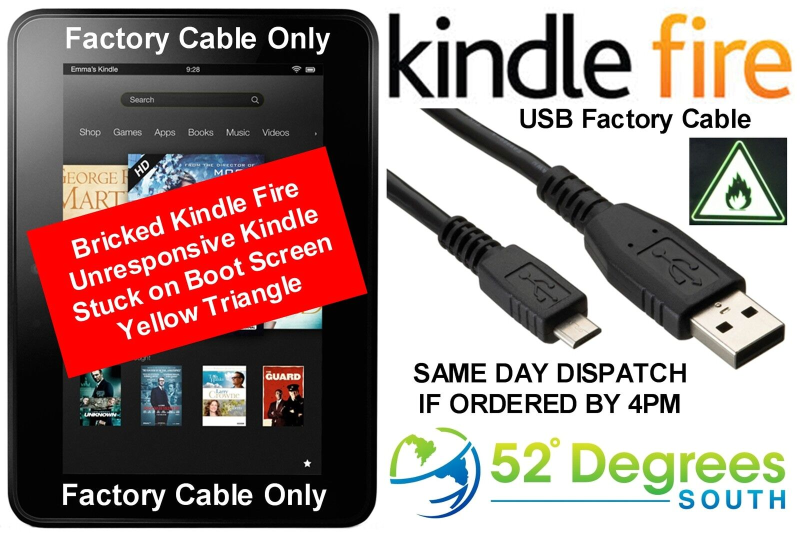 USB Factory Cable Kindle Fire Unbrick - CHEAPEST to Europe Same