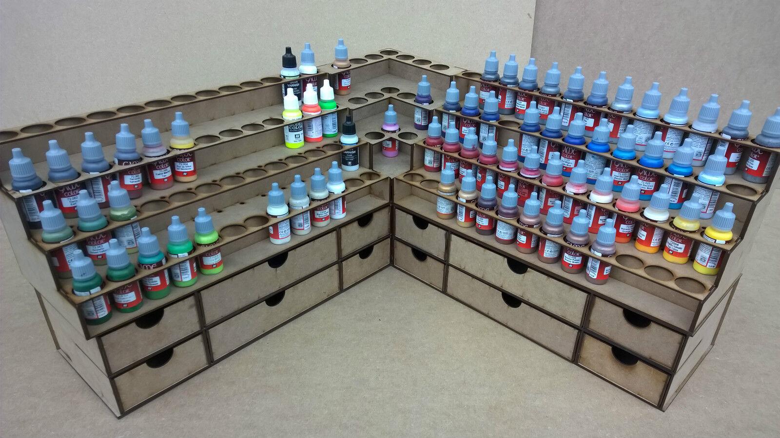 Soporte de pintura 2 racks + dibuja botella de almacenamiento Warpaint Vallejo Warhammer 40k warJuego