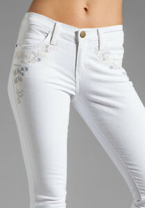 Current Elliott the roller dirty white jeans with embroidered ...