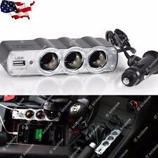 USB and Triple 12V Car Cigarette Adapter Charger Socket Splitter 4 Outlets