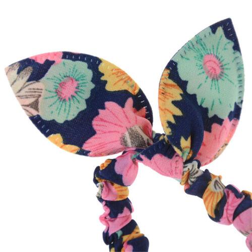 12x Girl Rabbit Ear Scrunchies Hair Band Rope Elastic Tie Ponytail Holder Lot YE