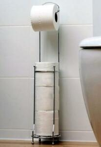 Free-Standing-Chrome-4-Toilet-Roll-Holder-Tissue-Paper-Storage-Dispenser-Stand