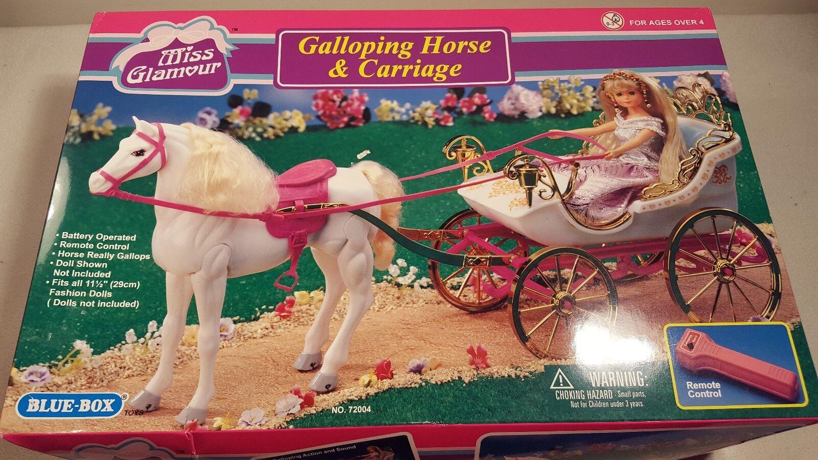 Miss glamour galoppierenden pferd und kutsche selten Blau-box spielzeug nib nie geöffnet