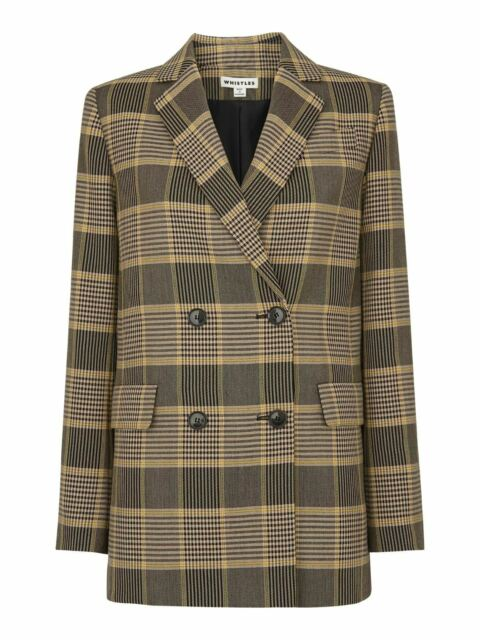 WHISTLES Ladies Multicolour Check Double Breasted Blazer Jacket M RRP220 BNWT