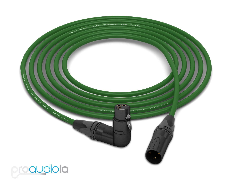 Mogami 2534 Quad Cable   Neutrik guld 90º XLR-F to XLR-M   grön 20 Feet 20'