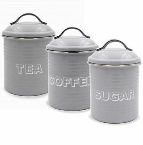 Details About Vintage Style Grey Enamel Tea Coffee Sugar Caddies Storage Containers Tins Set
