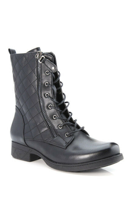 Women's Fashion Lace Up Mid Calf Combat Boot Flat Heel Faux Leather -BIG SALE!!
