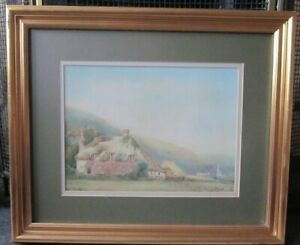 ANTIQUE-OLD-WATERCOLOUR-PAINTING-OF-A-LANDSCAPE-WITH-A-COTTAGE-SIGNED-S-PROUT