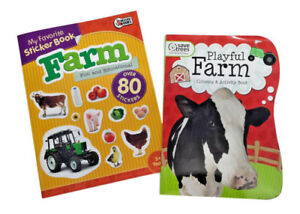Farm-Animals-Coloring-Book-Sticker-Books-Set-Fun-Farm-Equipment-Educational-Lot