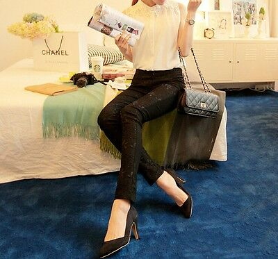 Fashion Women Casual Lace Flower Slim Fit Skinny Tight Pants Stretch Leggings