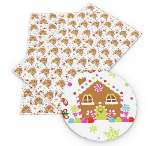 Gingerbread house Christmas faux leather sheet fabric full-1//2 sheet