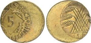 Weimar 5 Pfennig 192? D Lack Coinage: 30% -40% Dezentriert XF