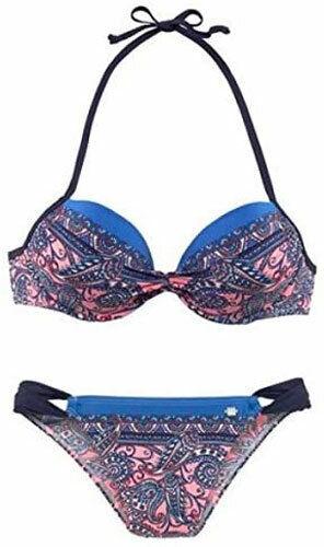 Jette Ladies Push Up Underwired Bikini ethno-Style Salmon Print 36 Cup B J6315
