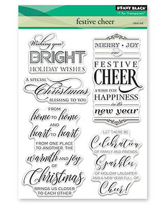 New Penny Black CHRISTMAS CHEER Clear Stamps Verse Christmas Joy Merry Holidays