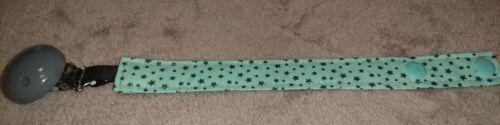 Schnullerkette Schnullerband mint grün grau Sterne stars