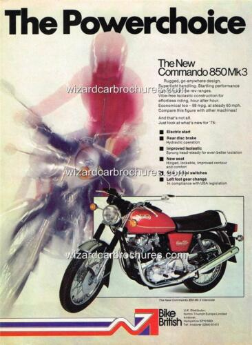 1975 NORTON COMMANDO 850 MK3 /'POWERCHOICE/' A3 POSTER AD ADVERT SALES BROCHURE
