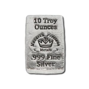 1  -  10 oz. 999 Fine Silver Bar - Monarch - Hand Poured - Uncirculated