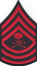 MASTER SERGEANT- MILITARY INSIGNIA-DEATH SKULL-CROSSBONES -BIKER--Iron On Patch