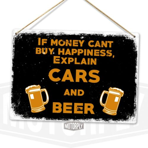 Art Petrol Head Lager Race Drift Rally Cars and Beer Metal Wall Sign