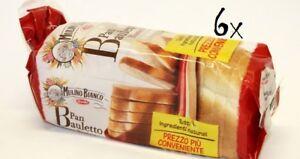6x Barlla Mulino bianco Pan Bauletto Toastbrot Toast Weiß Brot mit Olivenöl
