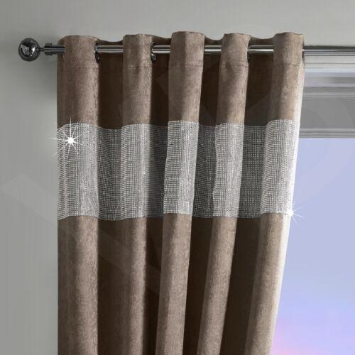 Strass thermique blackout paire rideaux prêts à l/'emploi à œillets et entièrement doublé