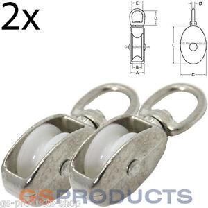2x 25mm Bright Zinc Plated Steel Swivel Eye Single Nylon Wheel