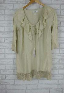 NAUDIC-Tunic-Top-Dress-Sz-S-Beige-Summer-Boho-Embroidered