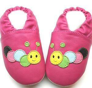 Suola-Morbida-Pelle-Neonato-Scarpe-Caterpillar-Fucsia-3-4y-USA-10-11-Pantofole