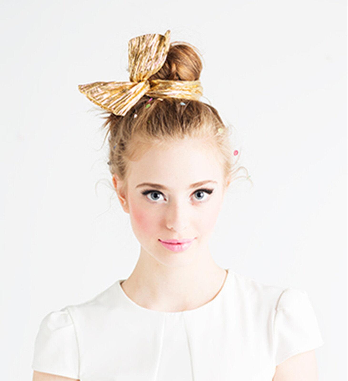 NEW Women Girl kid Wire Adjustable Bunny Ear Ribbon Bow PARTY Hair Band Headband