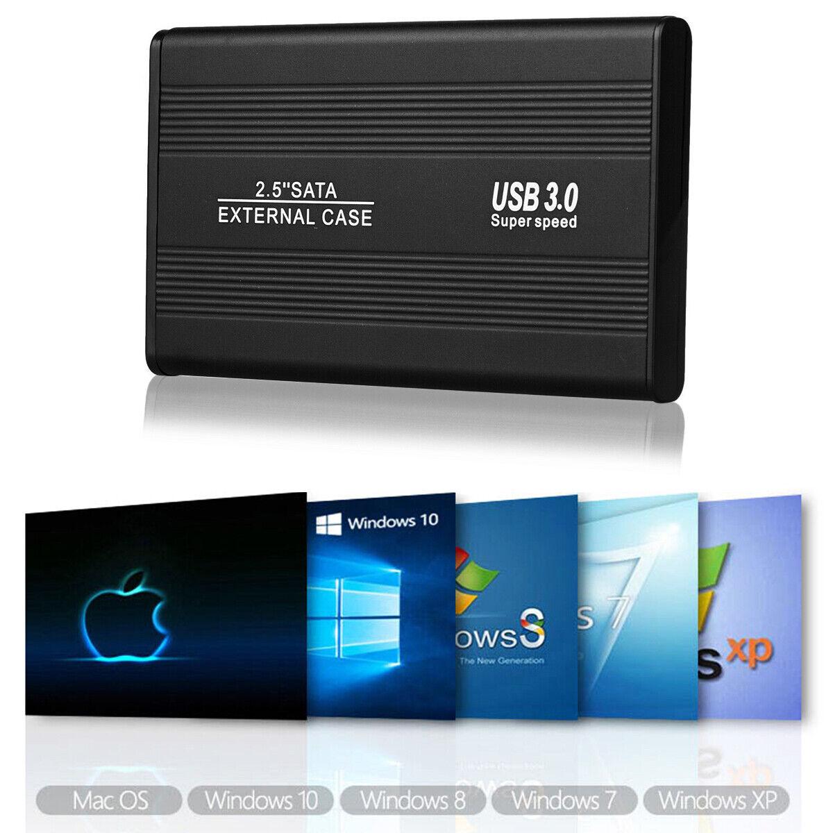"""External Backup Hard Drive Case 3TB USB 3.0 Enclosure 2.5/"""" Portable HDD Sata SSD"""