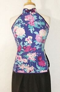 Traditional-Chinese-Women-Halter-Top-Blouse-Silk-with-Floral-Print