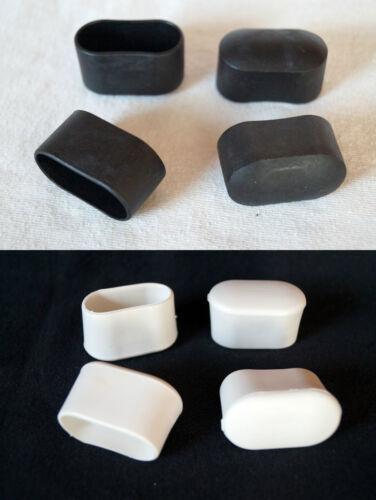 Weiß  Stuhlkappen Schutzkappen Rohrkappen 4 x Fusskappen 30 x 15mm Schwarz
